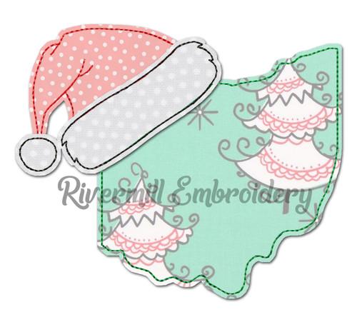 Ohio w/ Santa Hat Raggy Applique Machine Embroidery Design