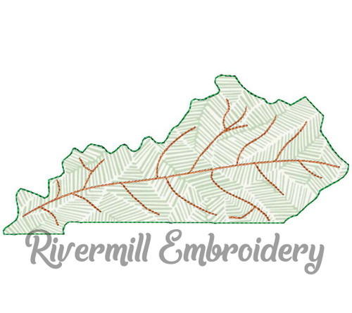 Raggy Applique Kentucky as a Leaf Machine Embroidery Design