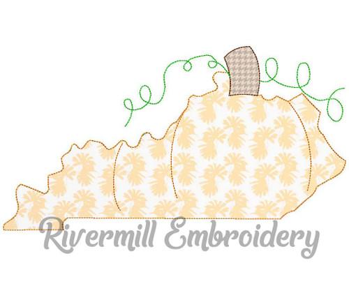 Large Raggy Applique Kentucky as a Pumpkin Machine Embroidery Design