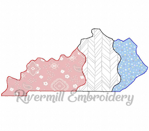 Large Raggy Applique Patchwork Kentucky Machine Embroidery Design