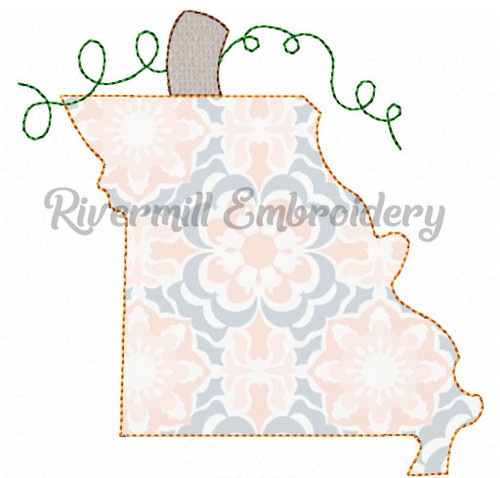 Raggy Applique Missouri as a Pumpkin Machine Embroidery Design