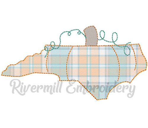 Raggy Applique North Carolina as a Pumpkin Machine Embroidery Design