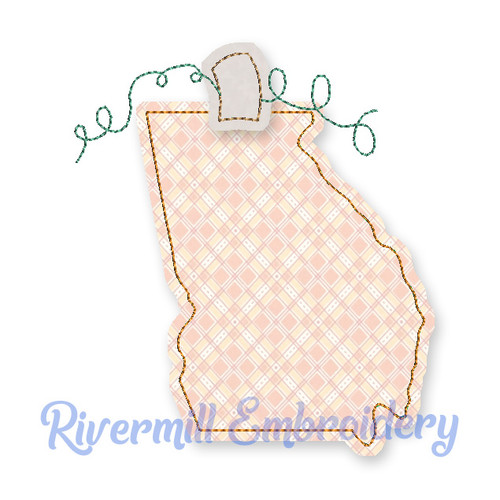 Raggy Applique Georgia as a Pumpkin Machine Embroidery Design