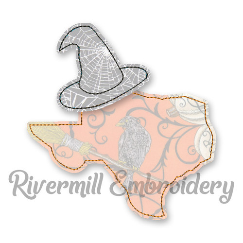 Raggy Applique Texas with a Witch Hat Machine Embroidery Design