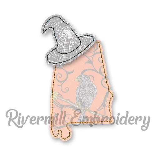 Raggy Applique Alabama with a Witch Hat Machine Embroidery Design