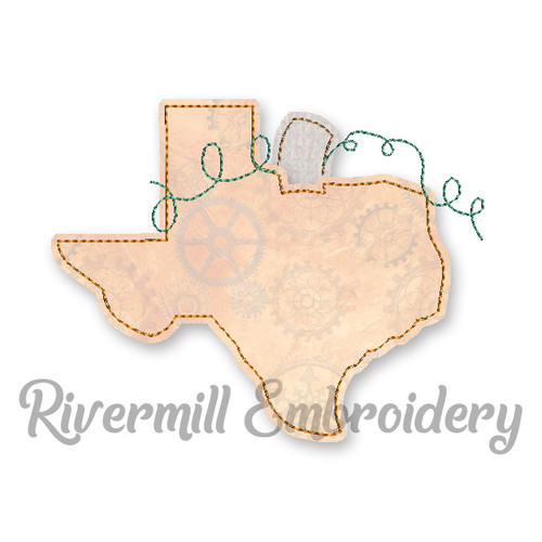 Raggy Applique Texas as a Pumpkin Machine Embroidery Design
