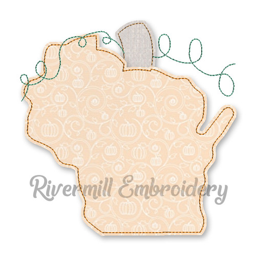Raggy Applique Wisconsin as a Pumpkin Machine Embroidery Design