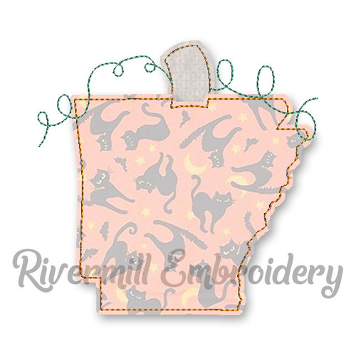 Raggy Applique Arkansas as a Pumpkin Machine Embroidery Design