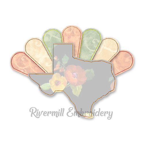 Texas With Turkey Feathers Raggy Applique Machine Embroidery Design