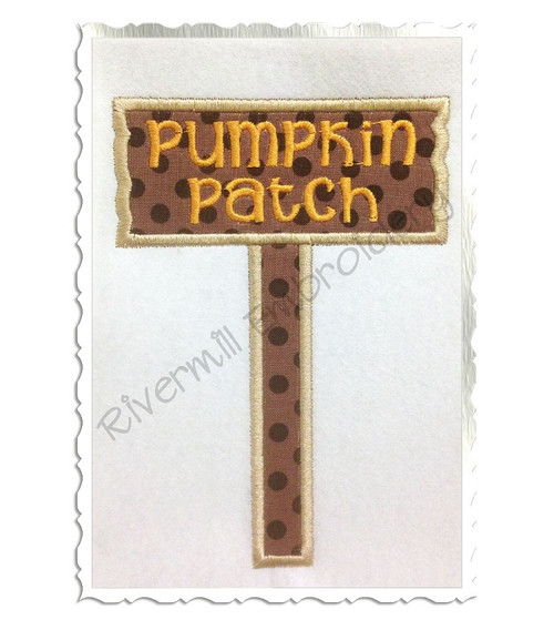 FREE Applique Pumpkin Patch Sign Machine Embroidery Design
