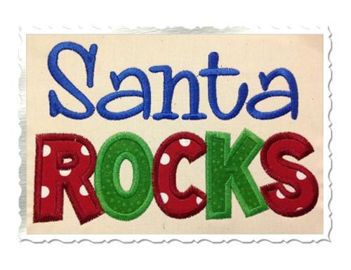 Santa Rocks Applique Machine Embroidery Design