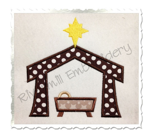 Manger Nativity Applique Machine Embroidery Design