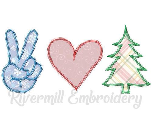 Zig Zag Applique Peace Love Christmas Machine Embroidery Design