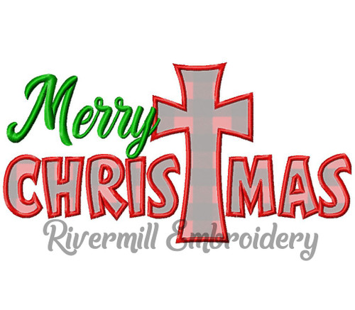 Applique Merry Christmas Machine Embroidery Design