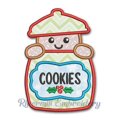 Applique Gingerbread Man In The Cookie Jar Machine Embroidery Design