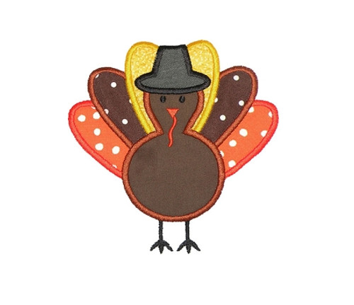 Applique Thanksgiving Turkey With Pilgrim Hat Machine Embroidery Design