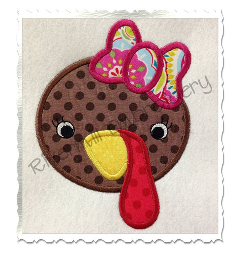 Applique Girl Turkey Machine Embroidery Design