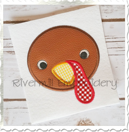 Applique Turkey Face Machine Embroidery Design