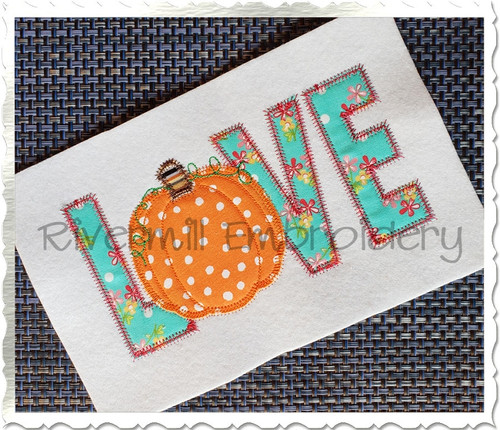 Zig Zag Applique Pumpkin Love Machine Embroidery Design