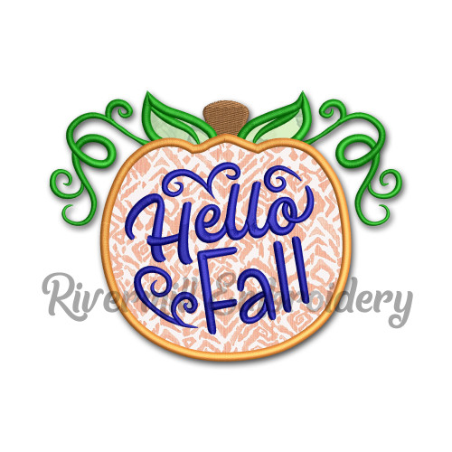 Hello Fall Applique Pumpkin Machine Embroidery Design