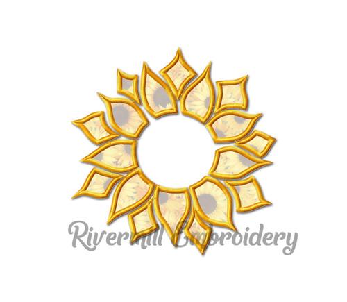 Applique Sunflower Monogram or Initial Frame Machine Embroidery Design