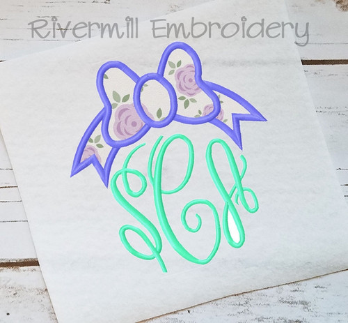 Applique Bow Monogram Topper Machine Embroidery Design