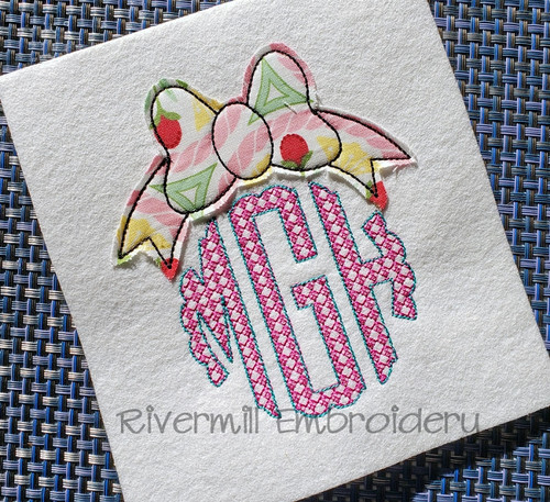 Raggy Applique Bow Monogram Topper Machine Embroidery Design