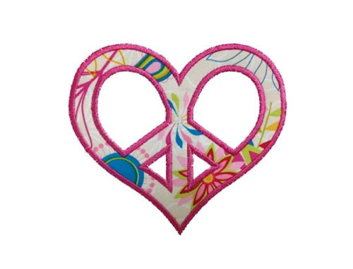 Applique Heart Shaped Peace Sign Machine Embroidery Design