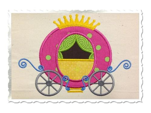 Applique Princess Carriage Machine Embroidery Design