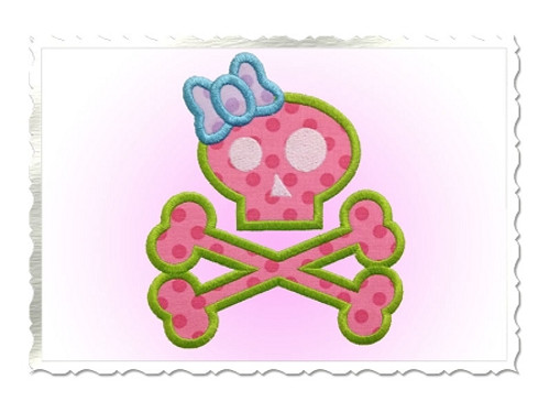 Skull & Crossbones With Bow Applique Machine Embroidery Design
