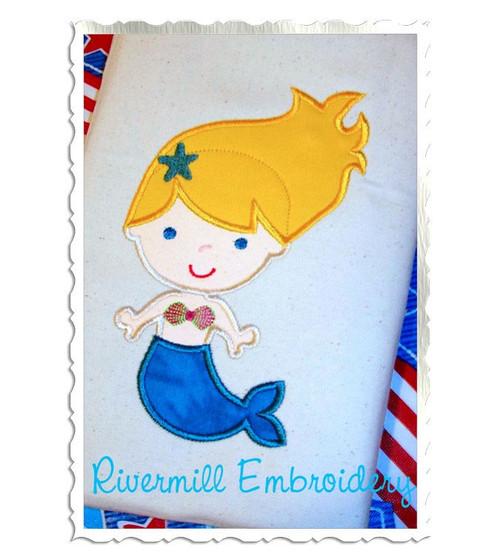 Applique Mermaid Machine Embroidery Design