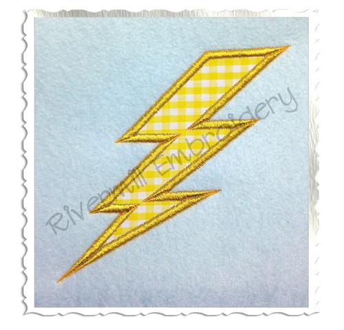 Lightning Bolt Applique Machine Embroidery Design