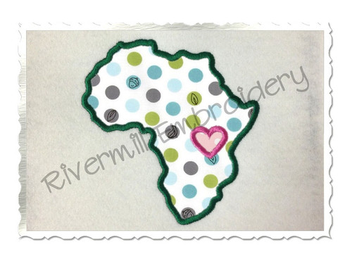 Applique Africa With A Heart Machine Embroidery Design