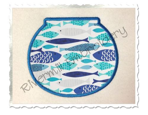 Applique Fish Bowl Machine Embroidery Design