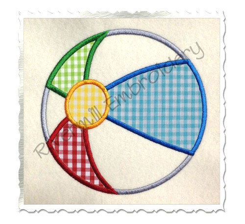 Beach Ball Applique Machine Embroidery Design