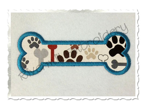 Applique Dog Bone Machine Embroidery Design