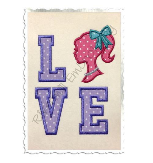 Applique Stacked Love w/ Silhouette Girl Machine Embroidery Design
