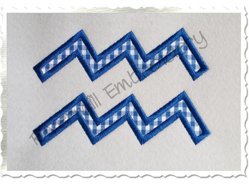 Applique Aquarius Astrology Symbol Machine Embroidery Design