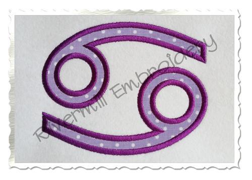 Applique Cancer Astrology Symbol Machine Embroidery Design