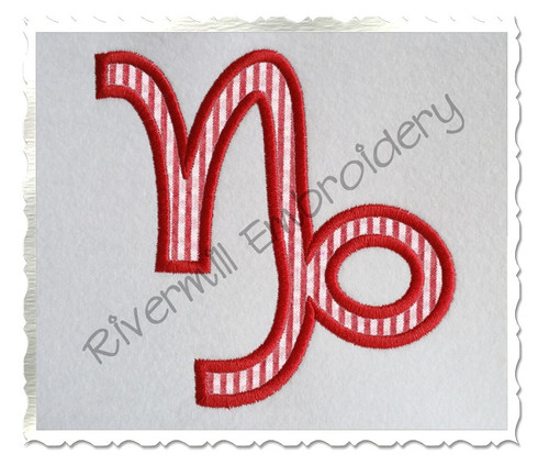 Applique Capricorn Astrology Symbol Machine Embroidery Design