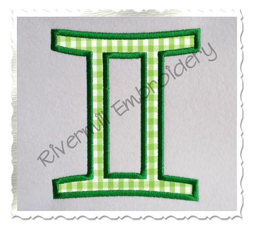 Applique Gemini Astrology Symbol Machine Embroidery Design