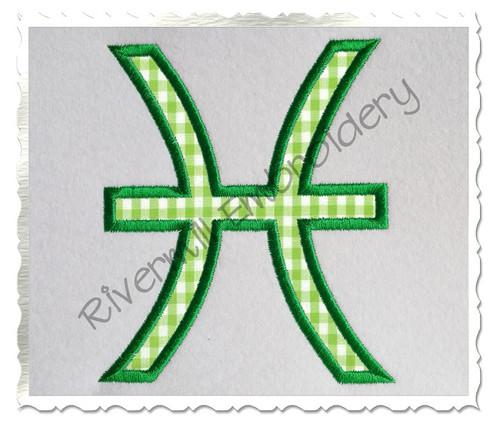 Applique Pisces Astrology Symbol Machine Embroidery Design