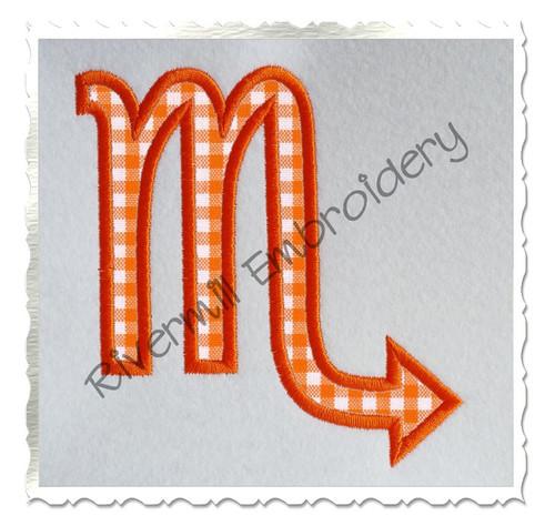 Applique Scorpio Astrology Symbol Machine Embroidery Design