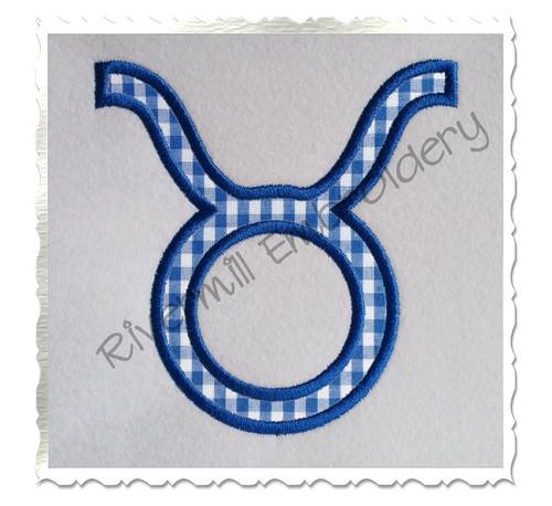 Applique Taurus Astrology Symbol Machine Embroidery Design