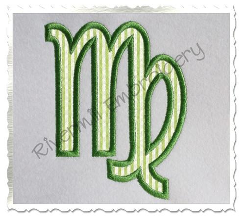 Applique Virgo Astrology Symbol Machine Embroidery Design