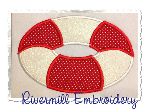 Applique Life Preserver Machine Embroidery Design