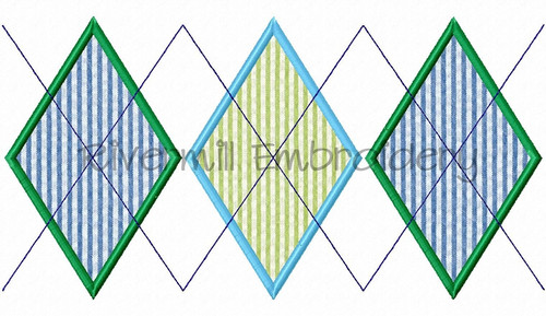 Applique Argyle Pattern Machine Embroidery Design