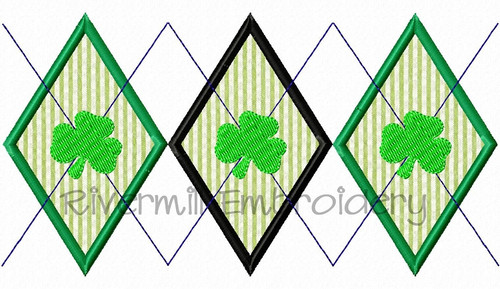 Applique Argyle With Shamrocks Pattern Machine Embroidery Design