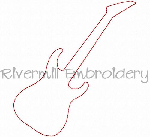 Raggy Applique Guitar Silhouette Machine Embroidery Design