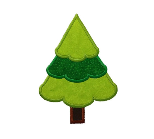 Applique Christmas Tree Machine Embroidery Design